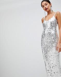 Серебристое платье макси с пайетками Club L - Серебряный