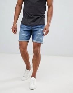 Состаренные джинсовые шорты Selected Homme - Синий