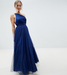 Платье макси на одно плечо из тюля ASOS DESIGN Petite - Фиолетовый