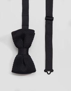 Черный вязаный галстук-бабочка Devils Advocate - Черный