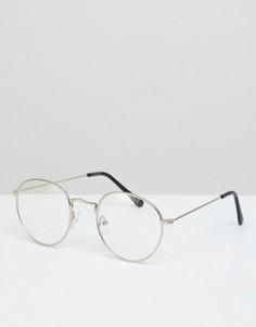 Круглые очки в серебристой металлической оправе с прозрачными стеклами ASOS DESIGN - Серебряный