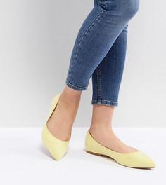 Балетки для широкой стопы с заостренным носком ASOS DESIGN - Желтый