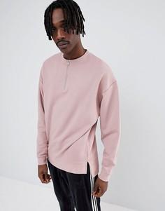 Розовый oversize-свитшот с молнией ASOS DESIGN - Розовый