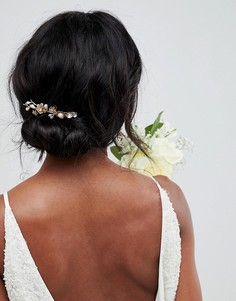 Золотистая заколка для волос с цветочной отделкой LoveRocks London - Золотой