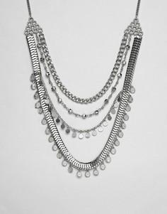 Ожерелье в несколько рядов с монетами ASOS DESIGN - Серебряный