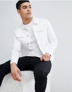 Белая облегающая джинсовая куртка River Island - Белый
