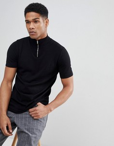 Черная футболка с короткой молнией ASOS DESIGN - Черный