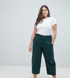 Зеленые широкие прямые брюки со съемным карманом сзади ASOS DESIGN Curve - Зеленый