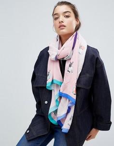Розовый шарф с кроликом PS by Paul Smith - Розовый