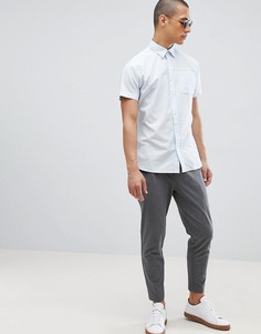 Льняная рубашка с короткими рукавами Selected Homme - Синий