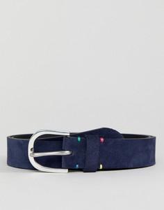 Темно-синий замшевый ремень с декоративной строчкой PS Paul Smith - Темно-синий