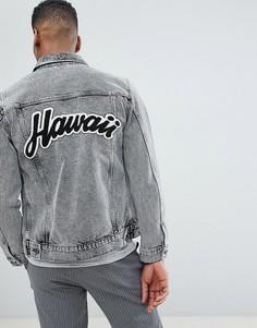 Джинсовая куртка с набивкой флок Selected Homme - Черный