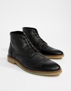 Черные кожаные броги с натуральной подошвой ASOS DESIGN - Черный