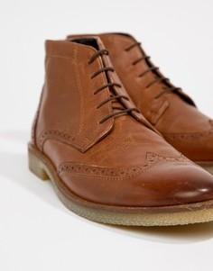 Светло-коричневые кожаные ботинки-броги с натуральной подошвой ASOS DESIGN - Рыжий