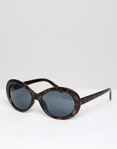 Овальные солнцезащитные очки в черепаховой оправе ASOS DESIGN - Коричневый