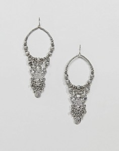 Серьги-кольца с бусинами и гравировкой ASOS DESIGN - Серебряный