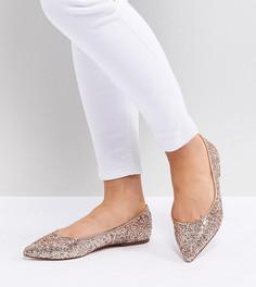 Балетки для широкой стопы с заостренным носком ASOS DESIGN - Золотой