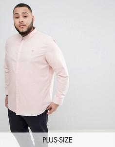 Розовая приталенная оксфордская рубашка Farah PLUS Brewer - Розовый