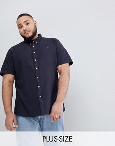 Темно-синяя оксфордская рубашка узкого кроя с короткими рукавами Farah PLUS Brewer - Темно-синий