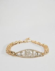 Золотистый браслет-цепочка в винтажном стиле с медальоном ASOS DESIGN - Золотой