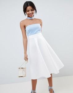 Платье для выпускного колор блок со вставкой на горловине ASOS DESIGN - Мульти