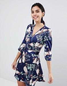 Платье с запахом и принтом птиц Liquorish - Темно-синий