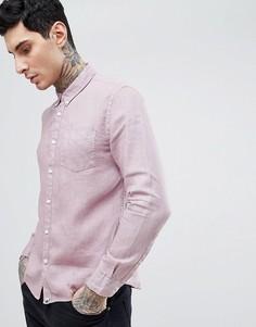 Розовая рубашка узкого кроя на пуговицах Pretty Green Collingwood - Розовый