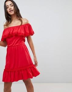 Летнее платье миди с вышивкой ришелье и помпонами ASOS DESIGN - Красный