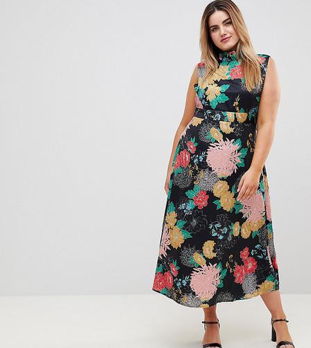 Платье макси с высоким воротом, поясом и цветочным принтом Uttam Boutqiue Plus - Мульти