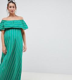 Длинное платье бандо в полоску ASOS DESIGN Maternity - Мульти