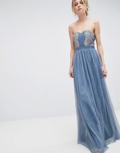Платье-бандо макси с отделкой Little Mistress - Синий