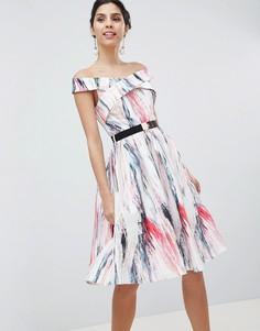 Короткое приталенное платье для выпускного с принтом Little Mistress - Мульти