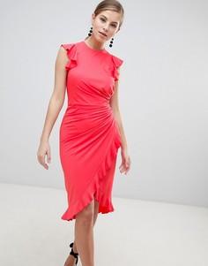 Платье миди с запахом и оборкой Little Mistress - Розовый