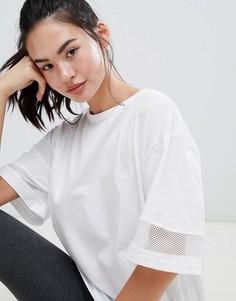Удлиненная оversize-футболка с сетчатыми вставками BLFD - Белый Bellfield