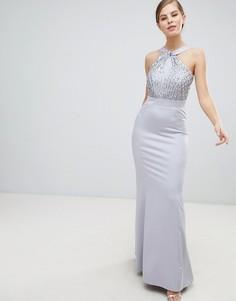 Платье макси с халтером и пайетками Little Mistress - Серый