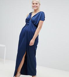Атласное платье макси с драпировкой ASOS DESIGN Curve - Мульти
