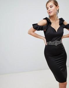 Платье-футляр с открытыми плечами и отделкой на поясе Little Mistress - Черный