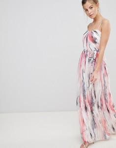 Платье макси с принтом и лифом-бандо Little Mistress - Мульти
