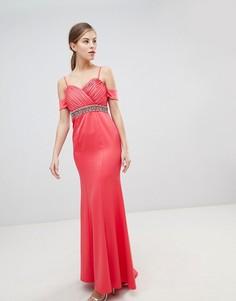 26003ce5f73 Платье макси с открытыми плечами и декоративной отделкой на поясе Little  Mistress - Розовый