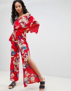 Широкие брюки с цветочным принтом Parisian - Красный