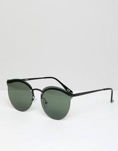 Круглые металлические солнцезащитные очки с зелеными линзами ASOS DESIGN - Черный