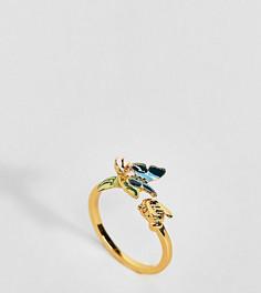 Позолоченное кольцо с эмалированной бабочкой Bill Skinner - Золотой