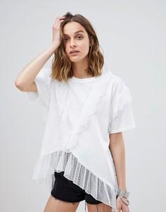 Сетчатая oversize-футболка в горошек Anna Sui - Белый