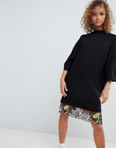 Платье-футболка с вышивкой на сетчатой вставке ASOS DESIGN - Черный