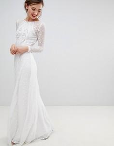 Платье макси с длинными рукавами Frock & Frill - Белый