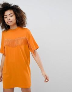 Платье-футболка с отделкой бахромой Monki - Оранжевый