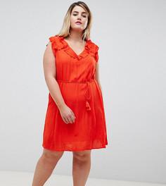 Свободное платье с оборками River Island Plus - Красный