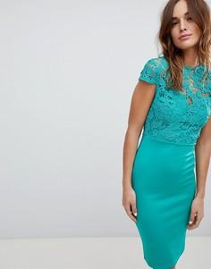 Платье миди с высоким воротом и короткими рукавами Club L - Зеленый