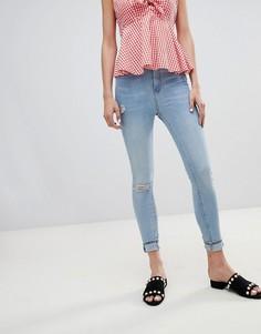 Зауженные джинсы с рваными коленями и необработанными краями River Island Harper - Синий