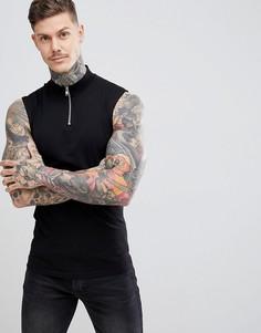 Черная обтягивающая футболка без рукавов с высоким воротником на молнии ASOS DESIGN - Черный